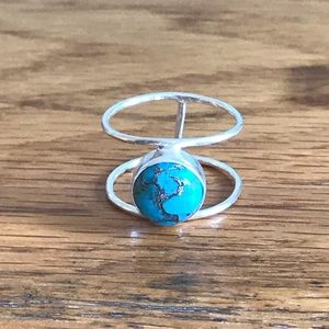 EUC Sterling Silver Turquoise Ring Size 8